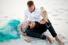 新娘和新郎与小猫头鹰在沙漠坐白色沙子背景  特写镜头 免版税库存照片