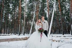 新娘和新郎与花束在多雪的森林冬天婚礼的背景摆在 附庸风雅 免版税库存照片