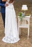新娘和新郎与蛋糕 免版税库存图片