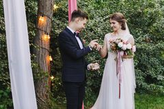 新娘和新郎交换圆环在婚礼,一个婚礼期间在有减速火箭的电灯泡的夏天绿色庭院里 免版税库存图片
