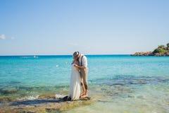 新娘和新郎亲吻和获得乐趣在含沙热带海滩 库存照片