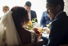 新娘和新郎使叮当响的玻璃结婚宴会 免版税库存图片