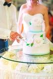 新娘和新郎切了他们的婚宴喜饼 库存照片