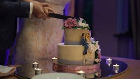 新娘和新郎切他们的婚宴喜饼 股票视频