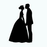 新娘和新郎剪影-例证 免版税库存照片