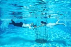 新娘和新郎和鸟笼水下的水池水潜水 免版税库存图片