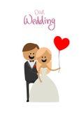 新娘和新郎在一个婚礼与球 库存图片