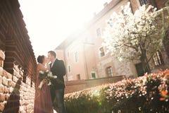 新娘和新郎在一个老镇-婚礼夫妇 免版税库存照片