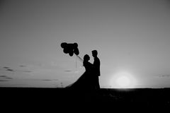 新娘和新郎在一个领域在日落与气球 免版税库存图片
