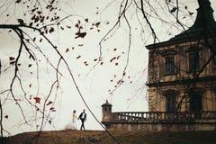 新娘和新郎在与一座伟大的城堡的小山走在他们后 免版税库存照片
