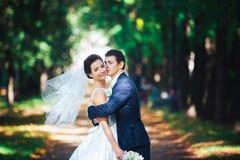 新娘和新郎在公园 免版税库存照片