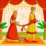 新娘和新郎在印地安印度婚礼 免版税图库摄影