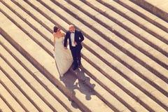新娘和新郎在台阶 免版税库存图片