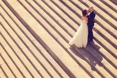 新娘和新郎在台阶 免版税库存照片