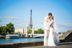 新娘和新郎在塞纳河堤防在巴黎 免版税图库摄影