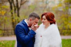 新娘和新郎在秋天公园 库存照片