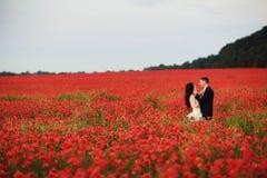 新娘和新郎在红色鸦片调遣 库存照片