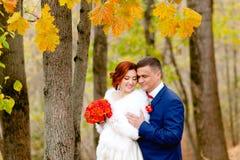 新娘和新郎在美好的秋天背景环境美化 免版税库存照片