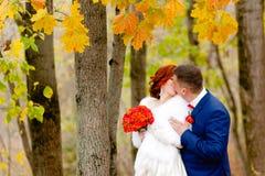 新娘和新郎在美好的秋天背景环境美化 图库摄影