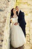 新娘和新郎在老被破坏的城堡墙壁附近 免版税库存照片