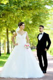新娘和新郎在自然公园 免版税库存图片