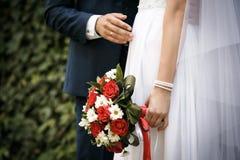 新娘和新郎在他们的婚礼 库存照片