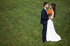 新娘和新郎在绿草背景 库存照片