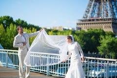 新娘和新郎在巴黎,在埃佛尔铁塔附近 免版税库存照片
