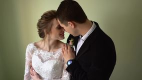 新娘和新郎拥抱和亲吻 股票视频