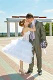 新娘和新郎柔和的亲吻 免版税库存图片