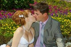 新娘和新郎柔和的亲吻 免版税图库摄影