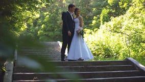 新娘和新郎沿公园胡同走 股票视频