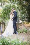 新娘和新郎画象在庭院里 免版税库存图片