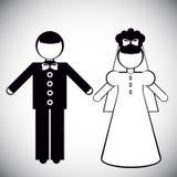 新娘和新郎的剪影 免版税图库摄影