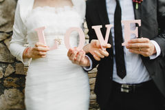 新娘和新郎的现有量 免版税库存照片