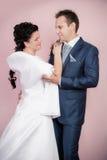 新娘和新郎纵向 免版税库存照片
