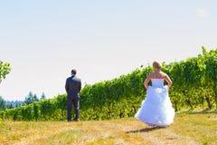 新娘和新郎首先看 免版税图库摄影