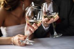 新娘和新郎戴酒眼镜在手上 免版税库存照片