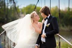 新娘在桥梁的新郎亲吻 免版税库存照片