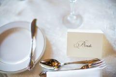 新娘在结婚宴会的位置卡片 免版税库存图片