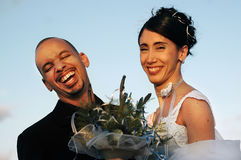 新娘夫妇修饰婚礼 库存图片