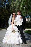 新娘夫妇修饰愉快 库存图片