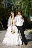 新娘夫妇修饰愉快 库存照片