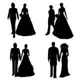 新娘夫妇剪影 免版税库存照片