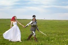 新娘她的骑士公主婚礼 免版税库存照片