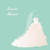 新娘婚礼礼服,新娘阵雨,美丽的白色礼服,传染媒介例证 免版税库存图片