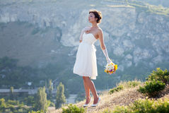 新娘室外纵向 免版税库存图片