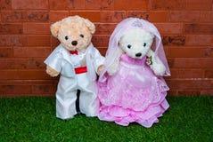 新娘对玩具熊 图库摄影