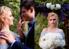 新娘开玩笑地看新郎 并且接触手指对他的鼻子技巧  婚姻的步行和照片写真 的treadled 免版税库存图片