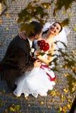 新娘微笑举行未婚夫的脖子和身分在autum下 免版税库存照片